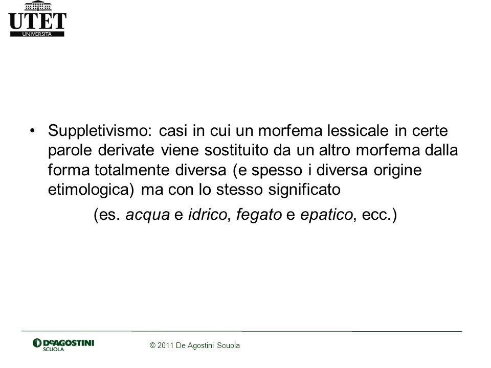 © 2011 De Agostini Scuola Suppletivismo: casi in cui un morfema lessicale in certe parole derivate viene sostituito da un altro morfema dalla forma to