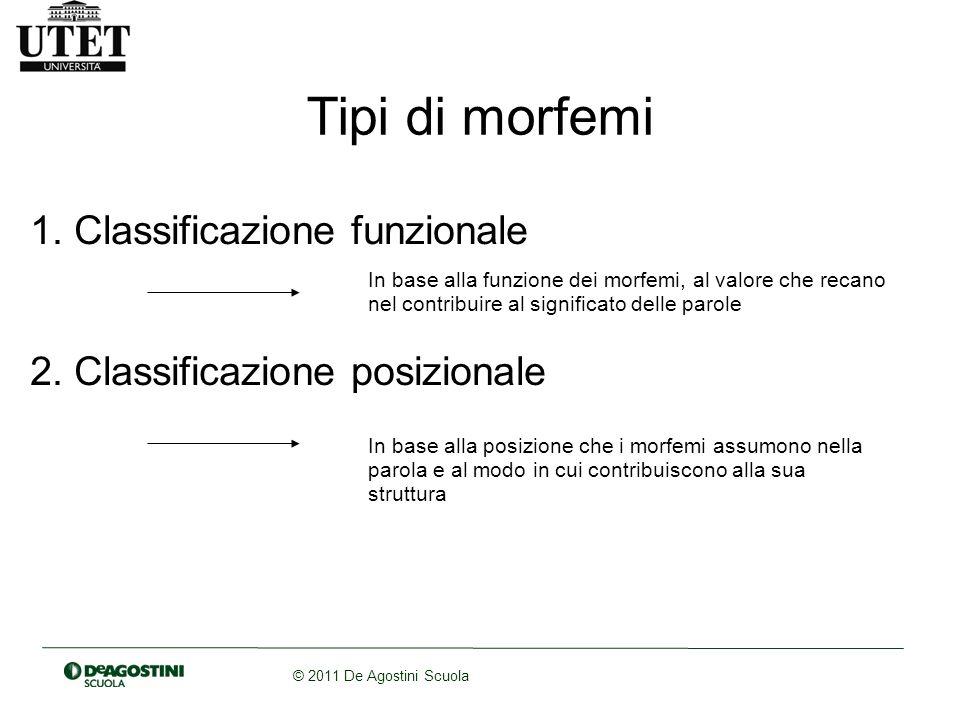© 2011 De Agostini Scuola Tipi di morfemi 1. Classificazione funzionale 2. Classificazione posizionale In base alla funzione dei morfemi, al valore ch