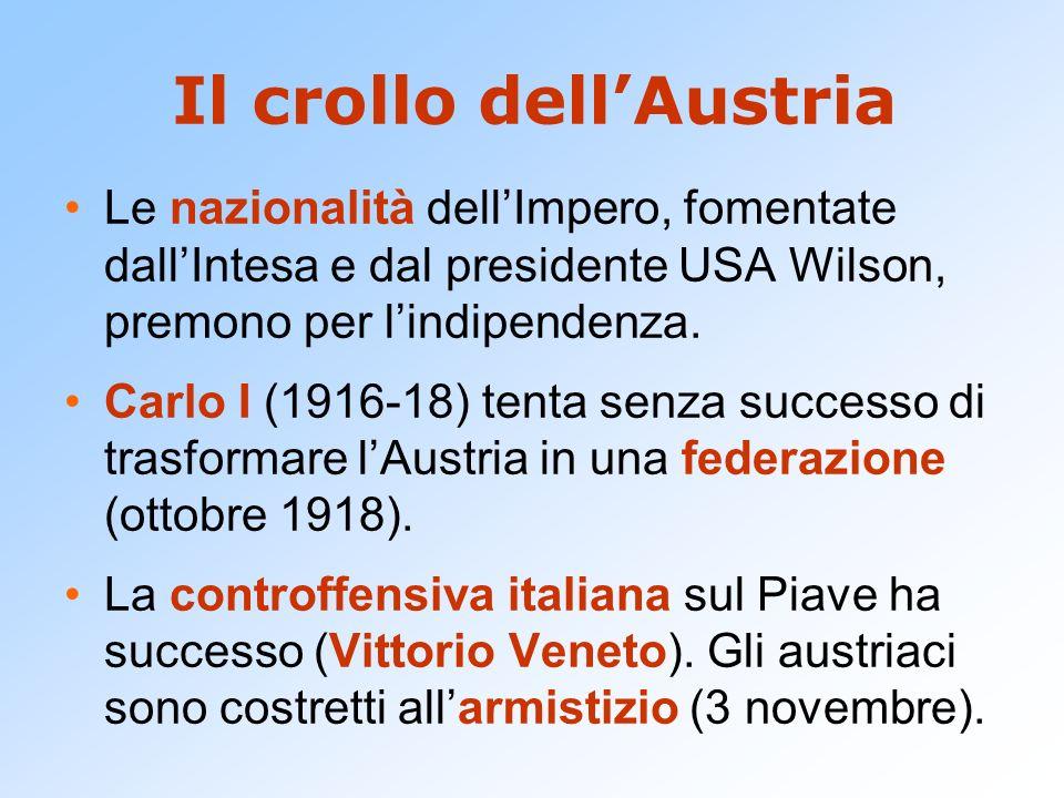 Il crollo dellAustria Le nazionalità dellImpero, fomentate dallIntesa e dal presidente USA Wilson, premono per lindipendenza. Carlo I (1916-18) tenta