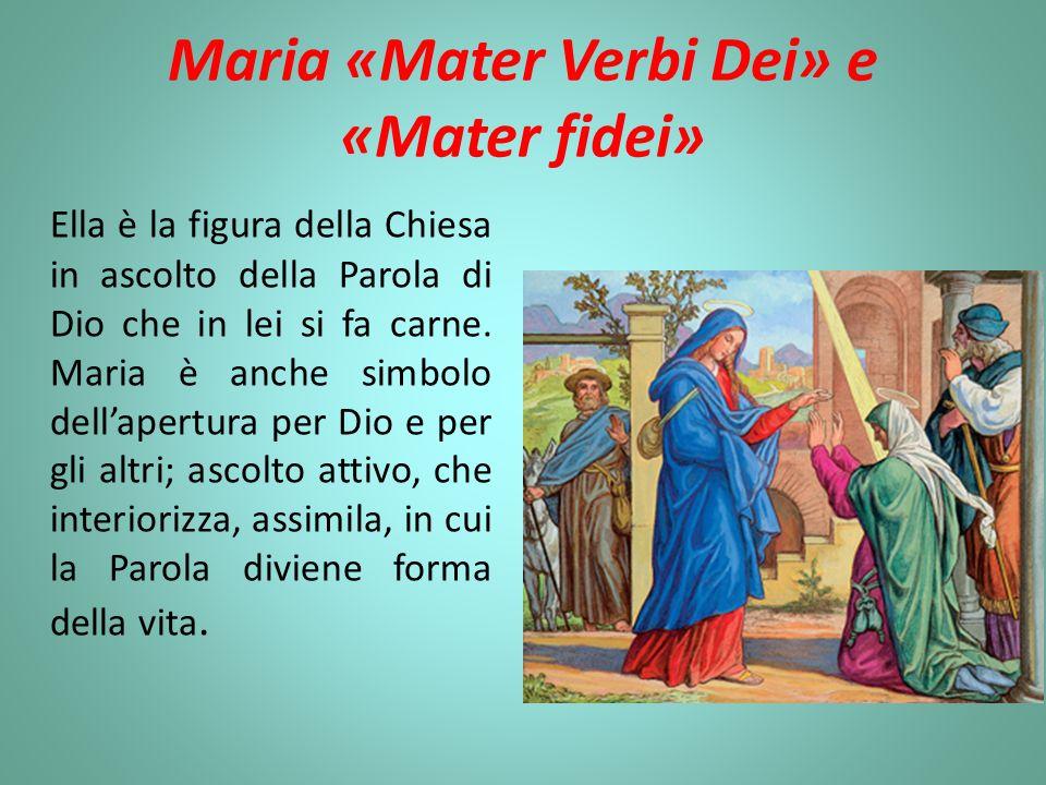 Maria «Mater Verbi Dei» e «Mater fidei» Ella è la figura della Chiesa in ascolto della Parola di Dio che in lei si fa carne. Maria è anche simbolo del