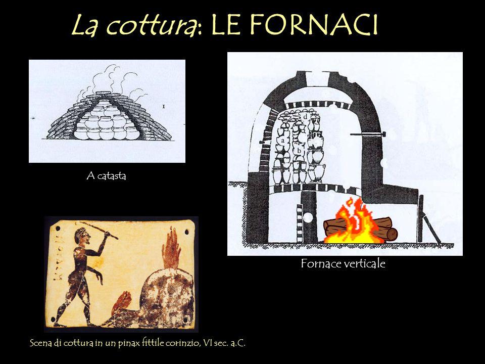 La cottura: LE FORNACI Scena di cottura in un pinax fittile corinzio, VI sec. a.C. A catasta Fornace verticale