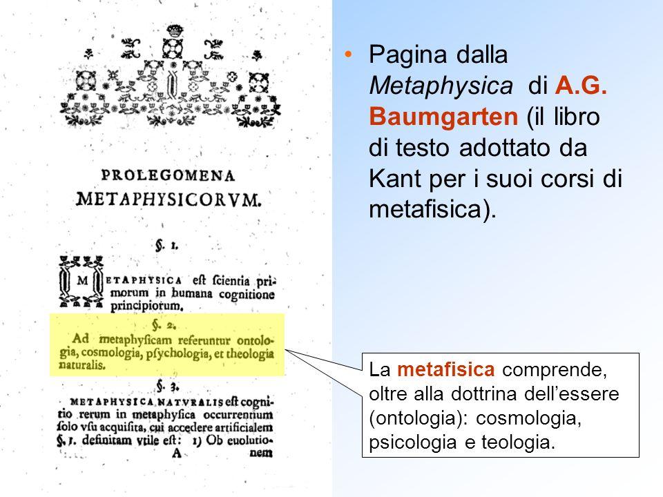 Pagina dalla Metaphysica di A.G. Baumgarten (il libro di testo adottato da Kant per i suoi corsi di metafisica). La metafisica comprende, oltre alla d