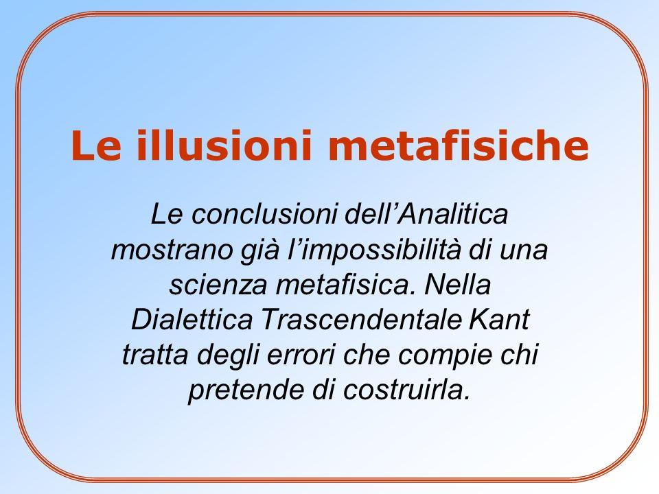 Le illusioni metafisiche Le conclusioni dellAnalitica mostrano già limpossibilità di una scienza metafisica. Nella Dialettica Trascendentale Kant trat