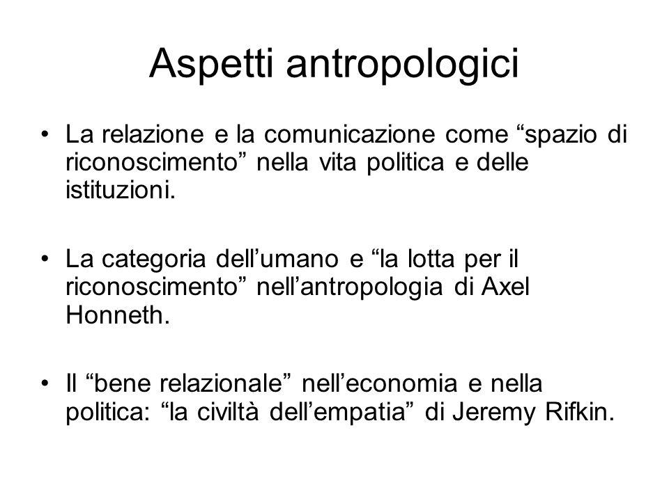 Aspetti antropologici La relazione e la comunicazione come spazio di riconoscimento nella vita politica e delle istituzioni. La categoria dellumano e