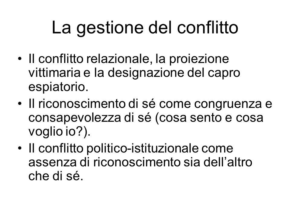 La gestione del conflitto Il conflitto relazionale, la proiezione vittimaria e la designazione del capro espiatorio. Il riconoscimento di sé come cong