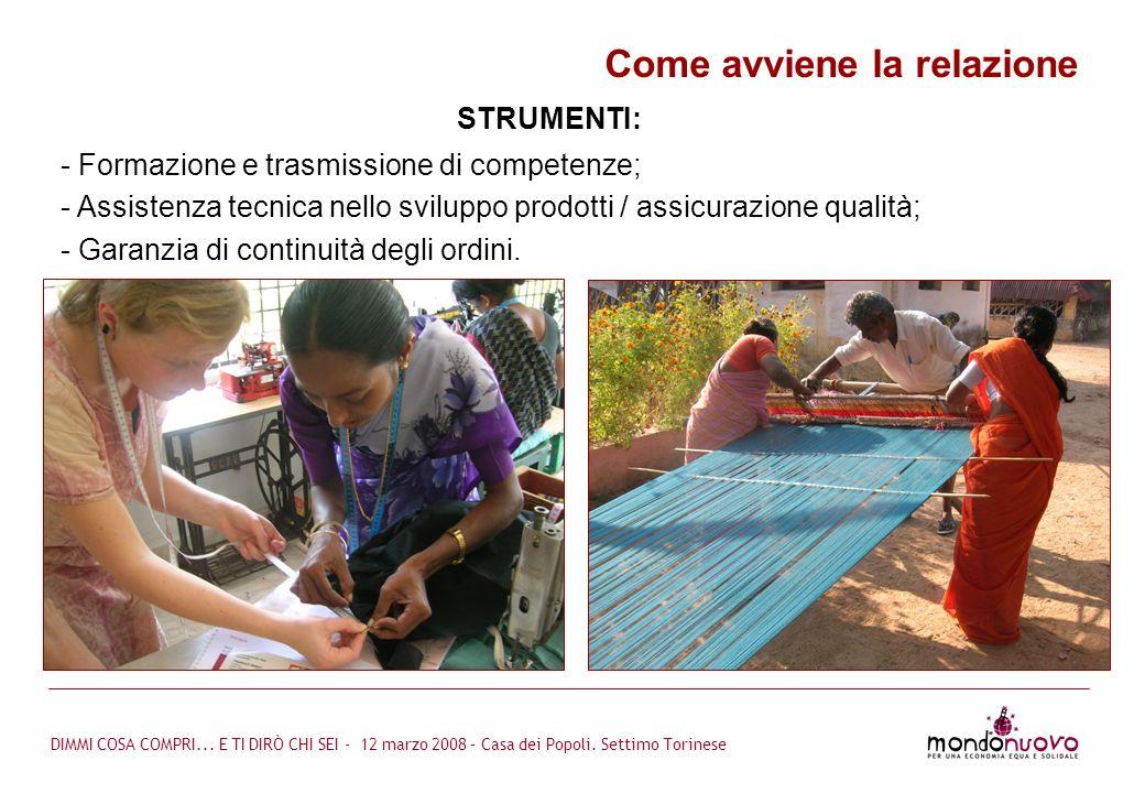 DIMMI COSA COMPRI... E TI DIRÒ CHI SEI - 12 marzo 2008 – Casa dei Popoli. Settimo Torinese Come avviene la relazione - Formazione e trasmissione di co