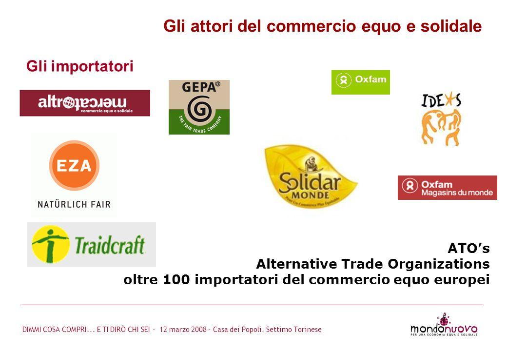 DIMMI COSA COMPRI... E TI DIRÒ CHI SEI - 12 marzo 2008 – Casa dei Popoli. Settimo Torinese ATOs Alternative Trade Organizations oltre 100 importatori
