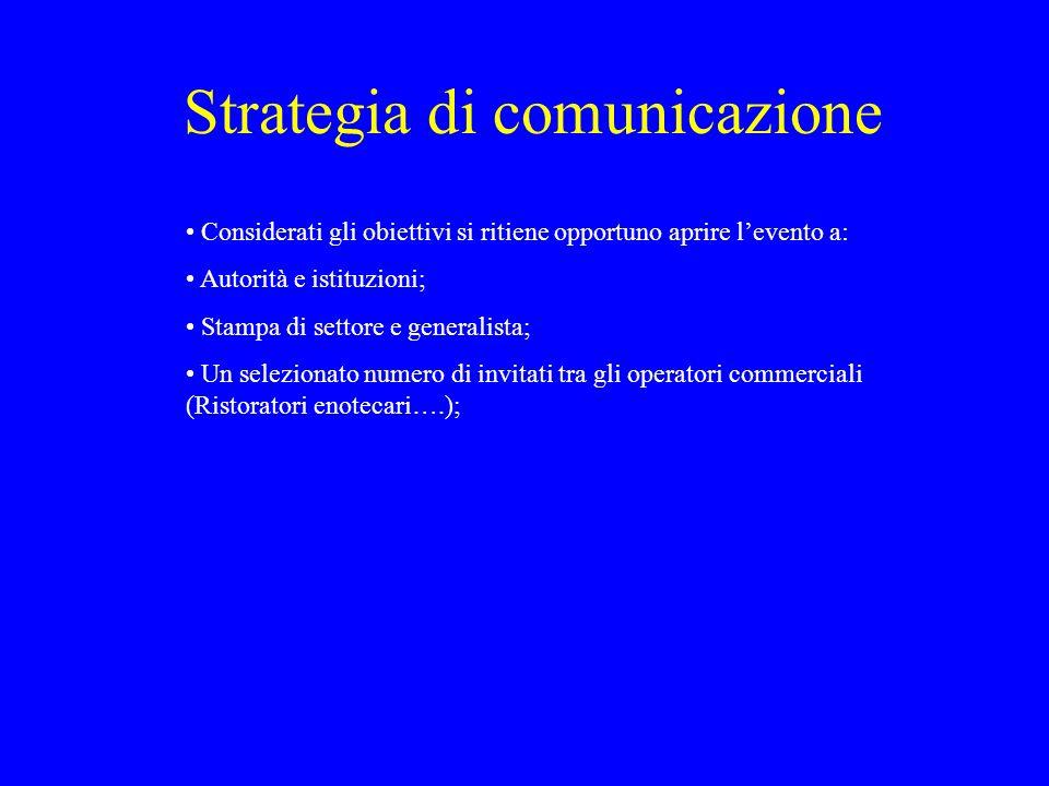 Strategia di comunicazione Considerati gli obiettivi si ritiene opportuno aprire levento a: Autorità e istituzioni; Stampa di settore e generalista; U