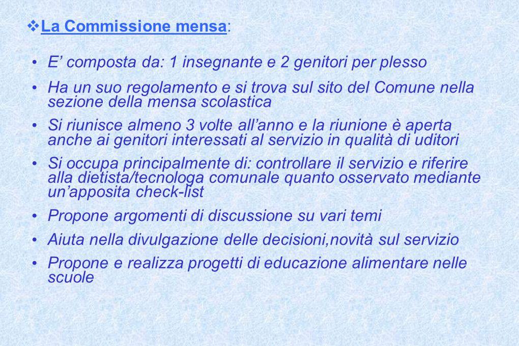 La Commissione mensa: E composta da: 1 insegnante e 2 genitori per plesso Ha un suo regolamento e si trova sul sito del Comune nella sezione della men