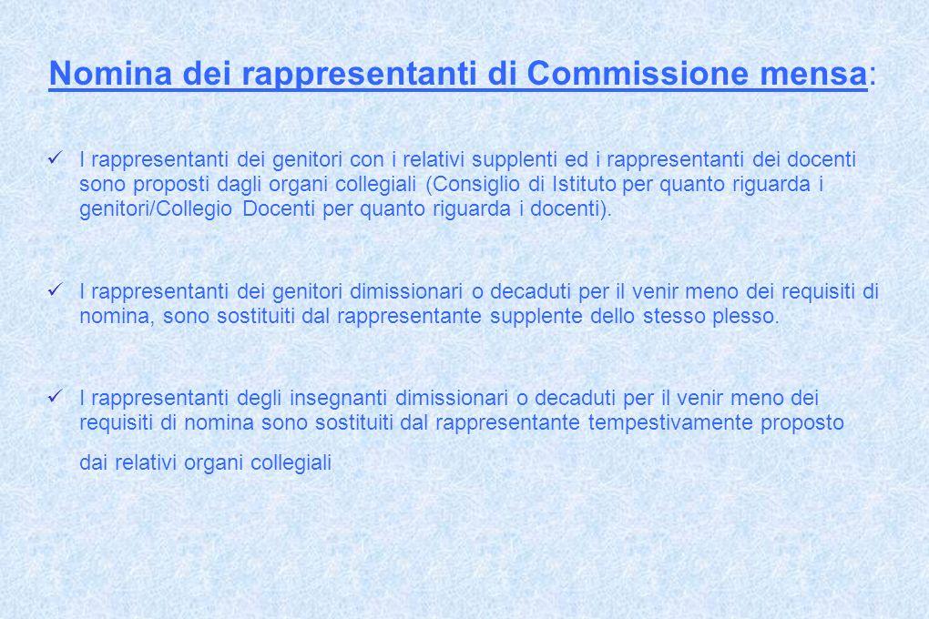 Nomina dei rappresentanti di Commissione mensa: I rappresentanti dei genitori con i relativi supplenti ed i rappresentanti dei docenti sono proposti d
