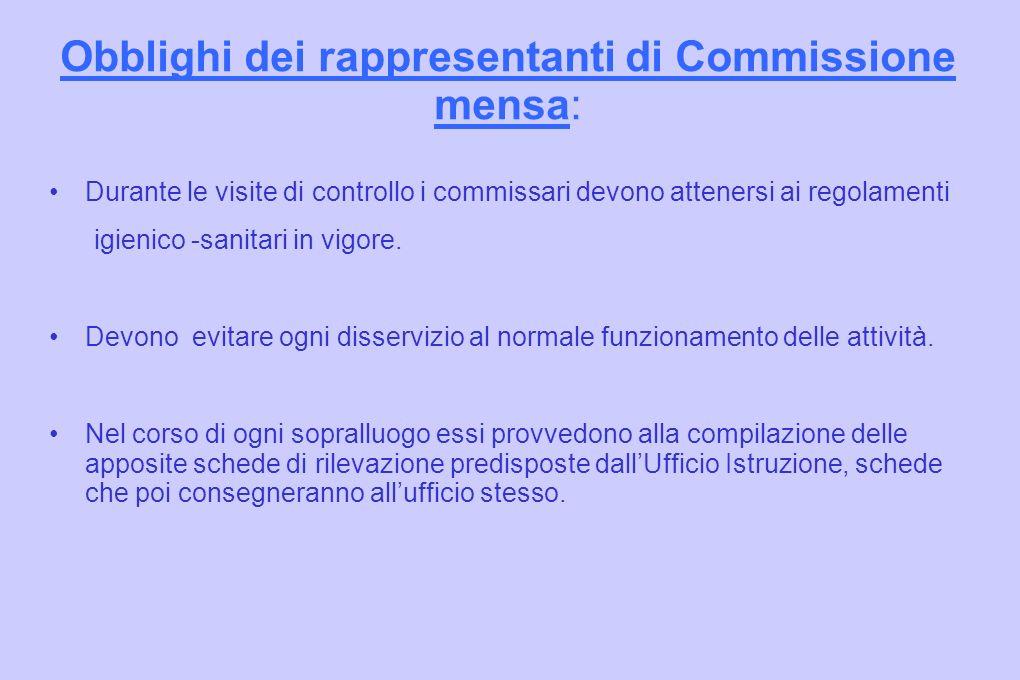 Obblighi dei rappresentanti di Commissione mensa: Durante le visite di controllo i commissari devono attenersi ai regolamenti igienico -sanitari in vigore.