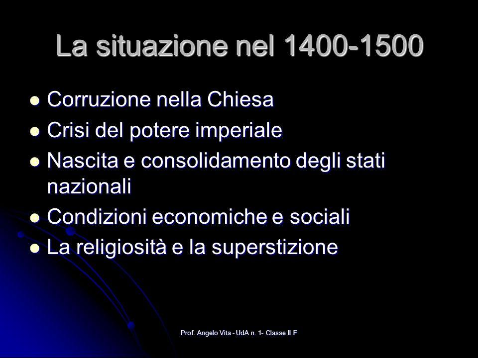 Prof. Angelo Vita - UdA n. 1- Classe II F La situazione nel 1400-1500 Corruzione nella Chiesa Corruzione nella Chiesa Crisi del potere imperiale Crisi