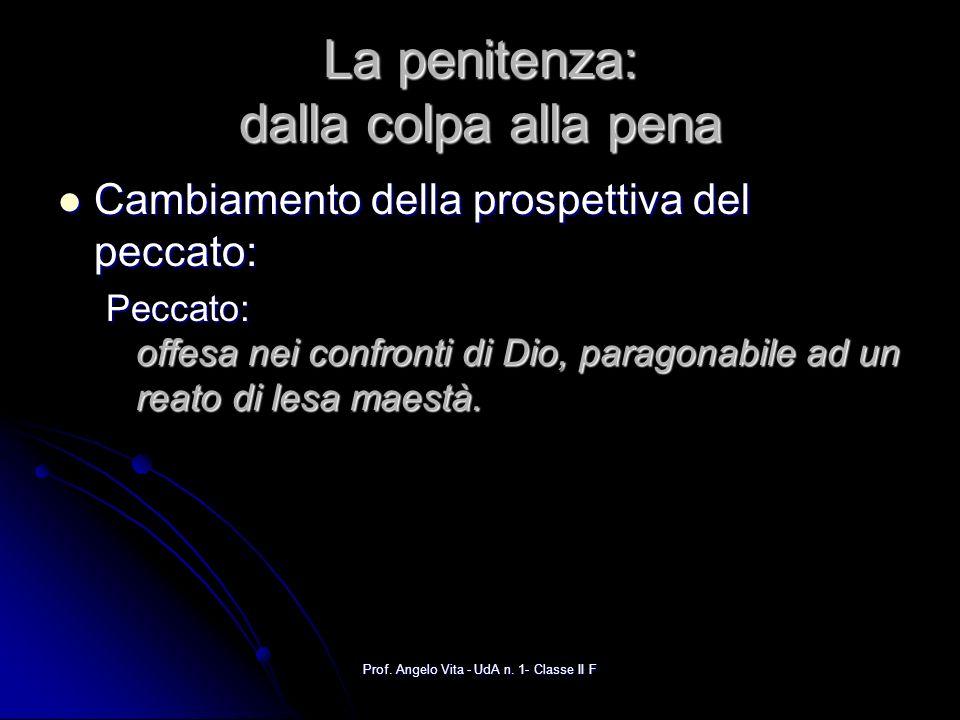 Prof. Angelo Vita - UdA n. 1- Classe II F La penitenza: dalla colpa alla pena Cambiamento della prospettiva del peccato: Cambiamento della prospettiva