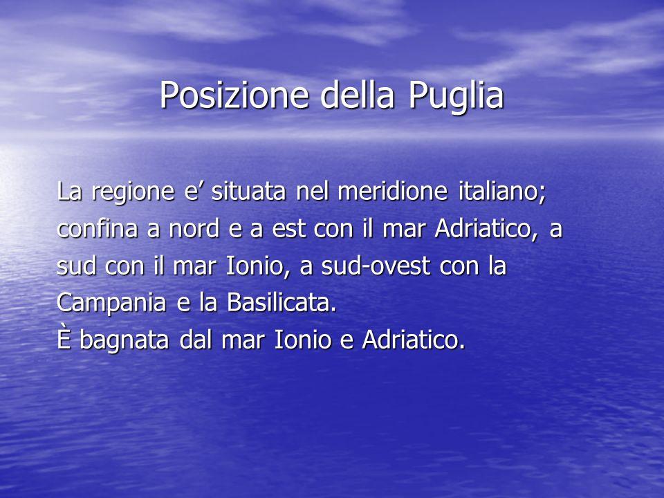 Posizione della Puglia La regione e situata nel meridione italiano; confina a nord e a est con il mar Adriatico, a sud con il mar Ionio, a sud-ovest c