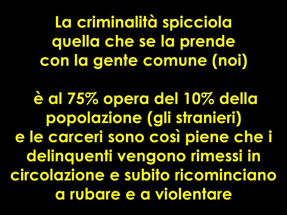 La criminalità spicciola quella che se la prende con la gente comune (noi) è al 75% opera del 10% della popolazione (gli stranieri) e le carceri sono