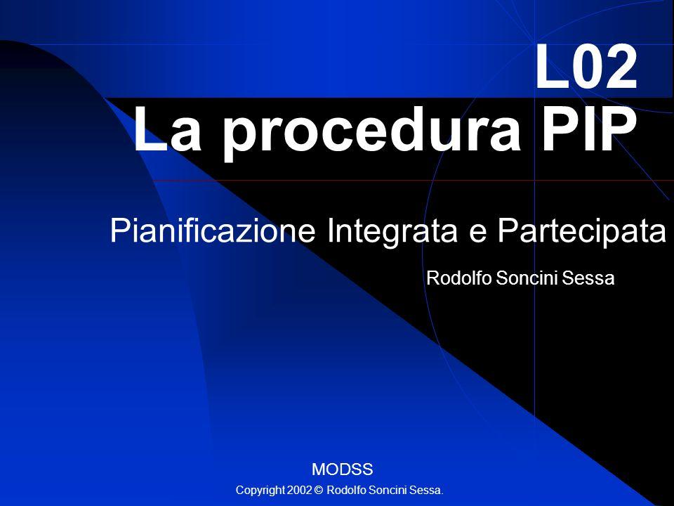 Rodolfo Soncini Sessa L02 La procedura PIP Pianificazione Integrata e Partecipata MODSS Copyright 2002 © Rodolfo Soncini Sessa.