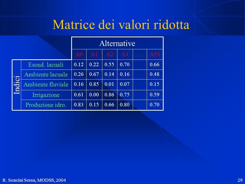 R. Soncini Sessa, MODSS, 2004 29 0.150.070.010.850.16 Ambiente fluviale Produzione idro. Irrigazione Ambiente lacuale Esond. lacuali 0.700.800.660.150