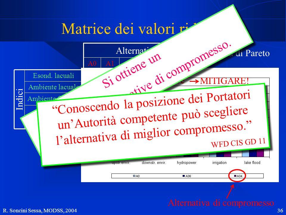 R. Soncini Sessa, MODSS, 2004 36 0.150.070.010.850.16 Ambiente fluviale Produzione idro. Irrigazione Ambiente lacuale Esond. lacuali 0.700.800.660.150