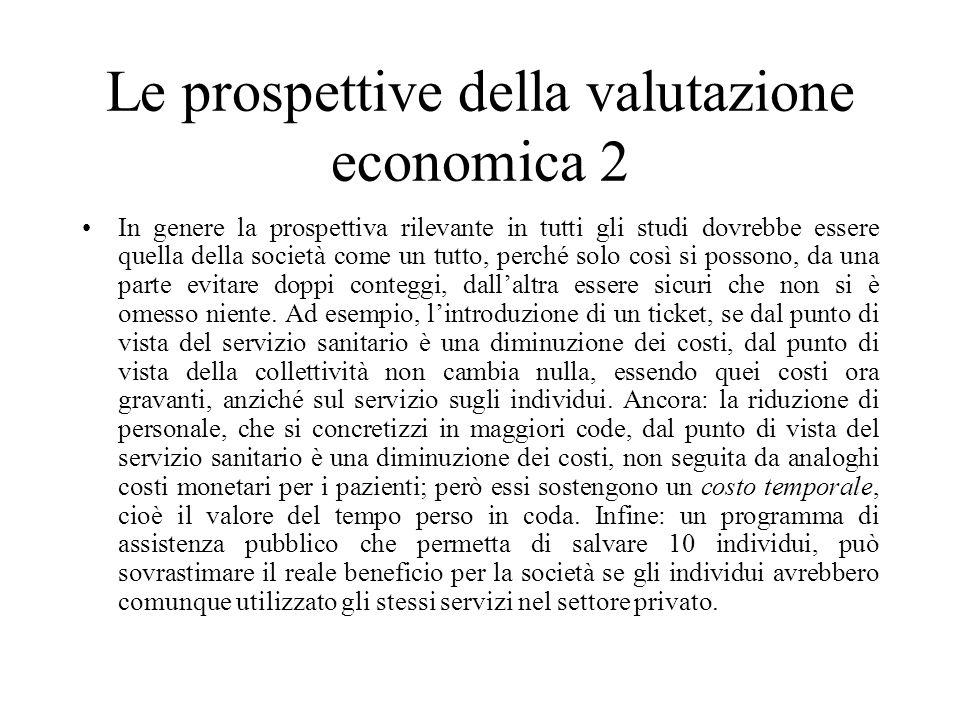 Le prospettive della valutazione economica 2 In genere la prospettiva rilevante in tutti gli studi dovrebbe essere quella della società come un tutto,