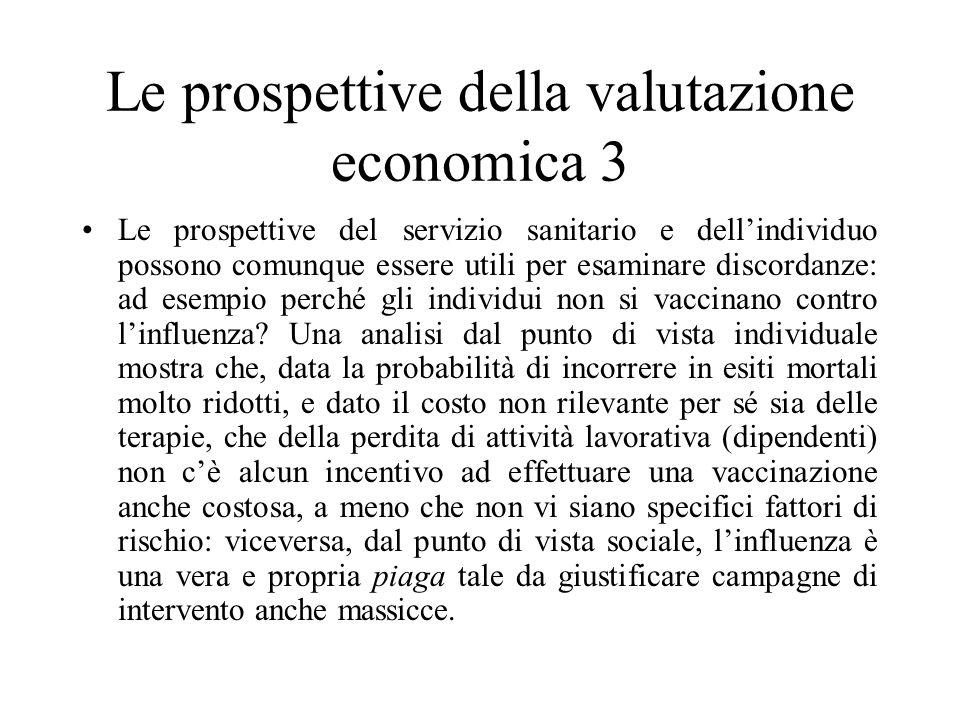 Le prospettive della valutazione economica 3 Le prospettive del servizio sanitario e dellindividuo possono comunque essere utili per esaminare discord