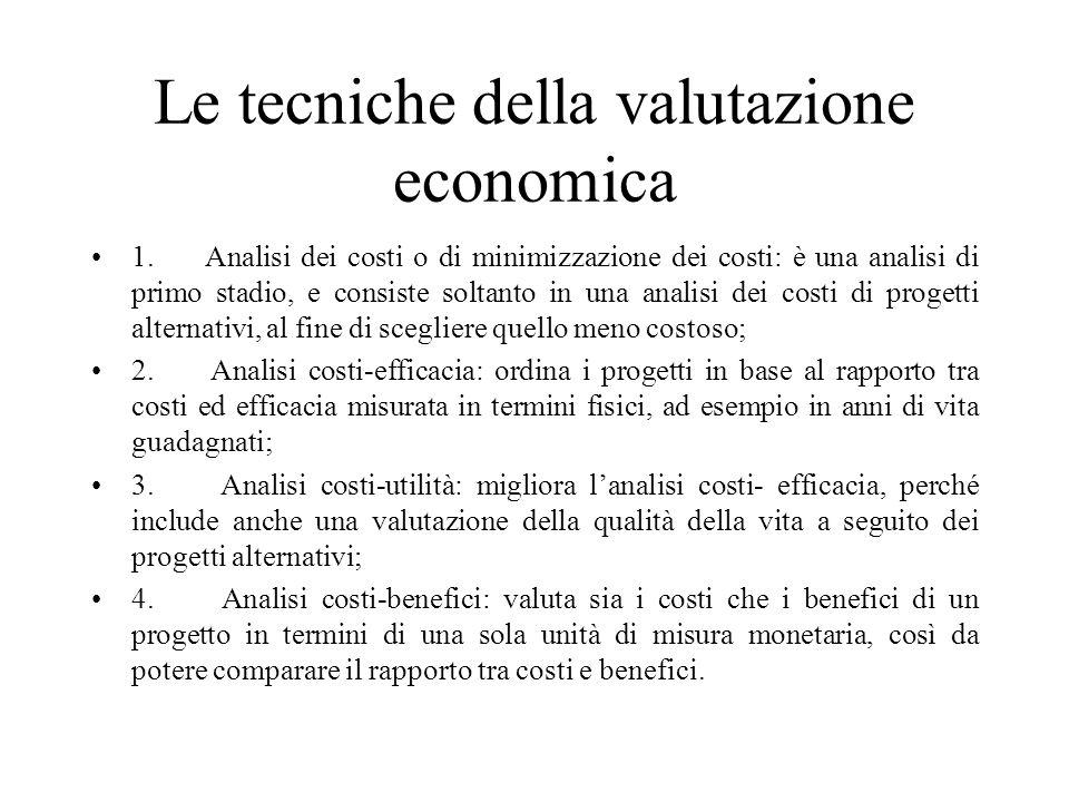 Le tecniche della valutazione economica 1. Analisi dei costi o di minimizzazione dei costi: è una analisi di primo stadio, e consiste soltanto in una
