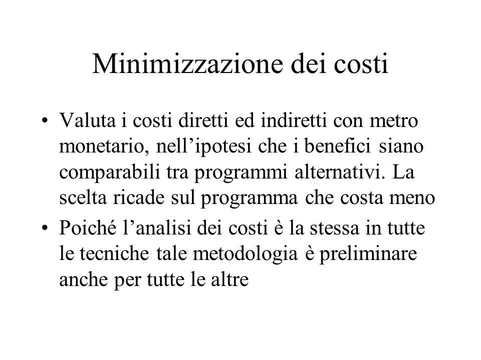 Minimizzazione dei costi Valuta i costi diretti ed indiretti con metro monetario, nellipotesi che i benefici siano comparabili tra programmi alternati