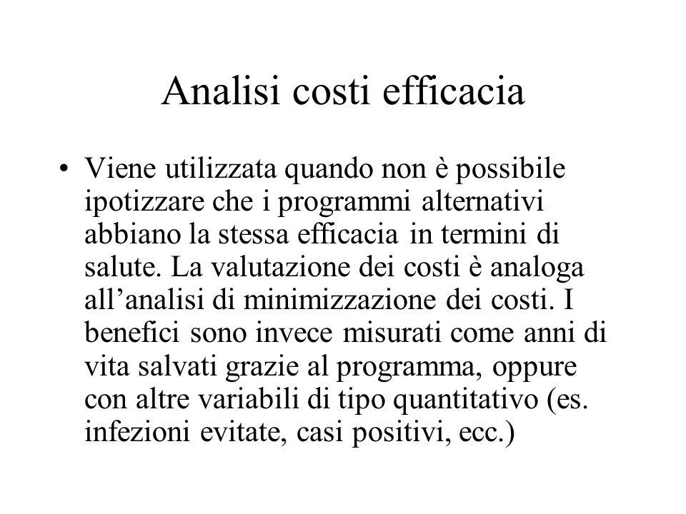 Analisi costi efficacia Viene utilizzata quando non è possibile ipotizzare che i programmi alternativi abbiano la stessa efficacia in termini di salut