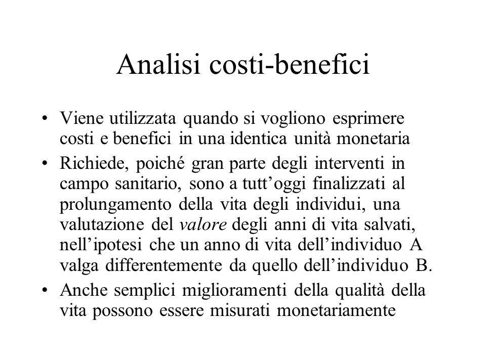 Analisi costi-benefici Viene utilizzata quando si vogliono esprimere costi e benefici in una identica unità monetaria Richiede, poiché gran parte degl