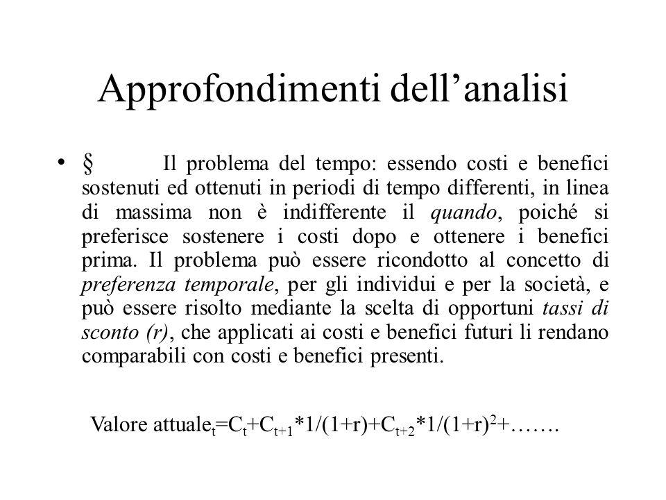 Approfondimenti dellanalisi § Il problema del tempo: essendo costi e benefici sostenuti ed ottenuti in periodi di tempo differenti, in linea di massim