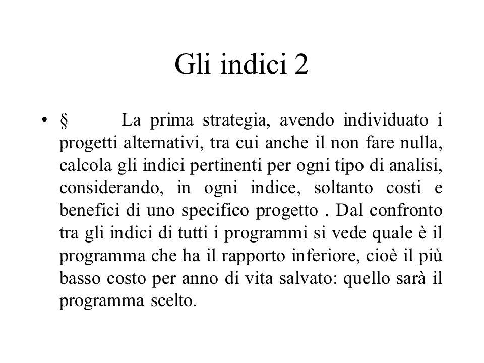 Gli indici 2 § La prima strategia, avendo individuato i progetti alternativi, tra cui anche il non fare nulla, calcola gli indici pertinenti per ogni