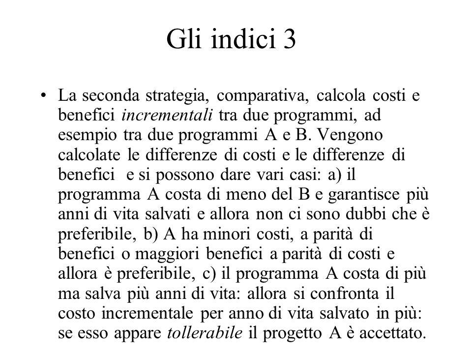 Gli indici 3 La seconda strategia, comparativa, calcola costi e benefici incrementali tra due programmi, ad esempio tra due programmi A e B. Vengono c