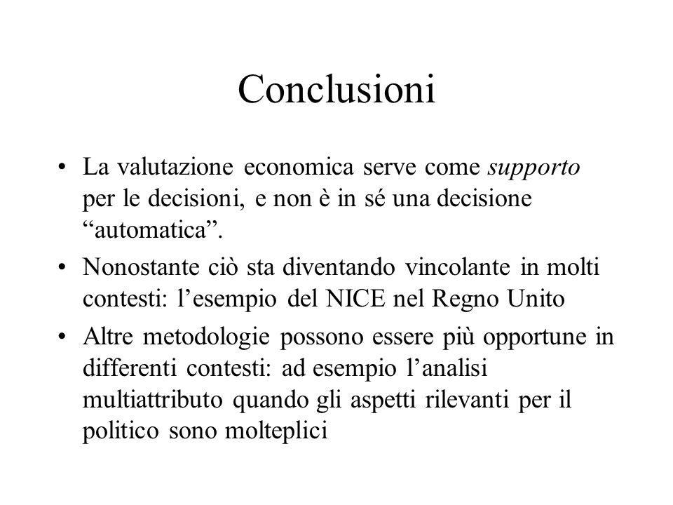 Conclusioni La valutazione economica serve come supporto per le decisioni, e non è in sé una decisione automatica. Nonostante ciò sta diventando vinco