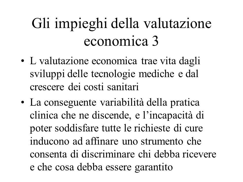 Gli impieghi della valutazione economica 3 L valutazione economica trae vita dagli sviluppi delle tecnologie mediche e dal crescere dei costi sanitari