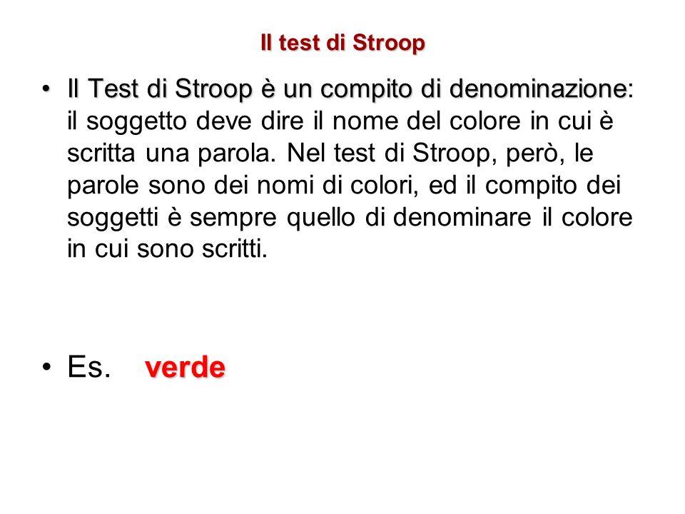 Il test di Stroop Il Test di Stroop è un compito di denominazioneIl Test di Stroop è un compito di denominazione: il soggetto deve dire il nome del co