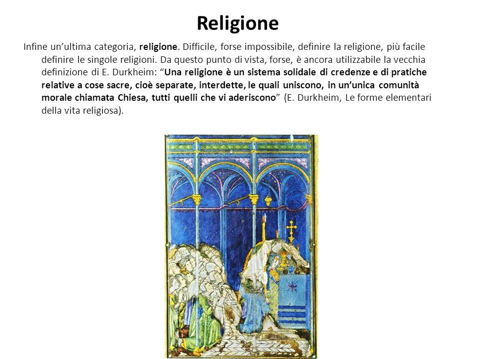 Religione Infine unultima categoria, religione.