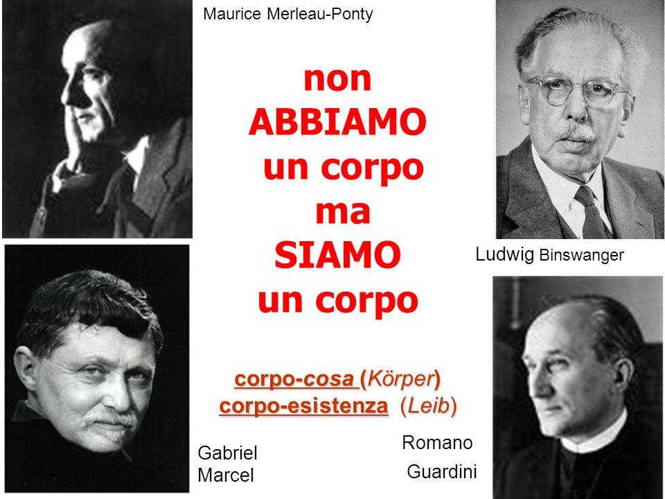 Gabriel Marcel Maurice Merleau-Ponty Ludwig Binswanger Romano Guardini non ABBIAMO un corpo ma SIAMO un corpo corpo-cosa (Körper) corpo-esistenza (Lei