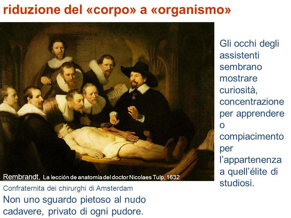 Rembrandt, La lección de anatomía del doctor Nicolaes Tulp, 1632 riduzione del «corpo» a «organismo» Confraternita dei chirurghi di Amsterdam Non uno