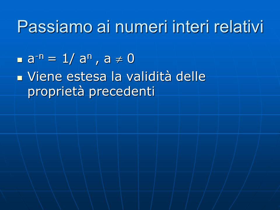 Passiamo ai numeri interi relativi a -n = 1/ a n, a 0 a -n = 1/ a n, a 0 Viene estesa la validità delle proprietà precedenti Viene estesa la validità delle proprietà precedenti