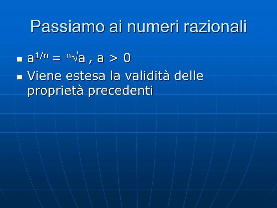 Passiamo ai numeri razionali a 1/n = na, a > 0 a 1/n = na, a > 0 Viene estesa la validità delle proprietà precedenti Viene estesa la validità delle proprietà precedenti