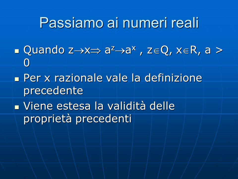 Passiamo ai numeri reali Quando zx a za x, zQ, xR, a > 0 Quando zx a za x, zQ, xR, a > 0 Per x razionale vale la definizione precedente Per x razionale vale la definizione precedente Viene estesa la validità delle proprietà precedenti Viene estesa la validità delle proprietà precedenti