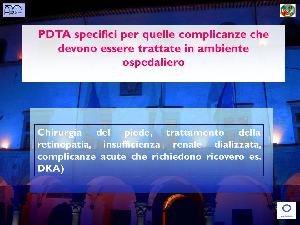 PDTA specifici per quelle complicanze che devono essere trattate in ambiente ospedaliero Chirurgia del piede, trattamento della retinopatia, insuffici