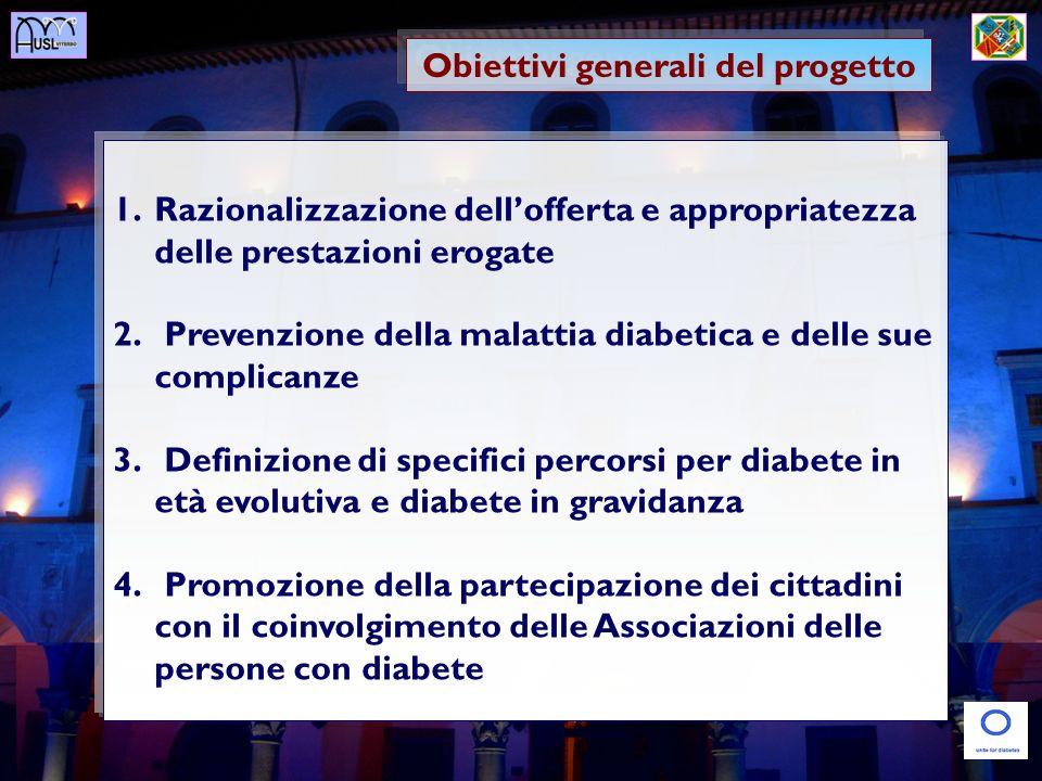Obiettivi generali del progetto 1.Razionalizzazione dellofferta e appropriatezza delle prestazioni erogate 2. Prevenzione della malattia diabetica e d