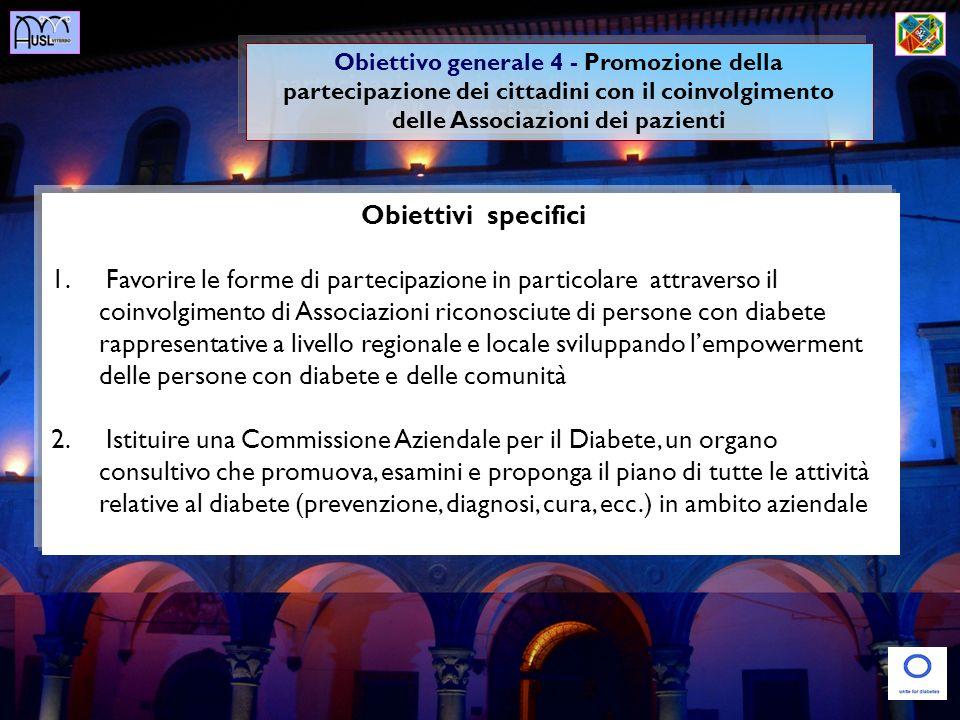Obiettivi specifici 1. Favorire le forme di partecipazione in particolare attraverso il coinvolgimento di Associazioni riconosciute di persone con dia