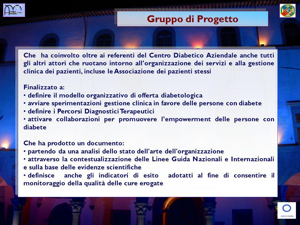 Gruppo di Progetto Che ha coinvolto oltre ai referenti del Centro Diabetico Aziendale anche tutti gli altri attori che ruotano intorno allorganizzazio