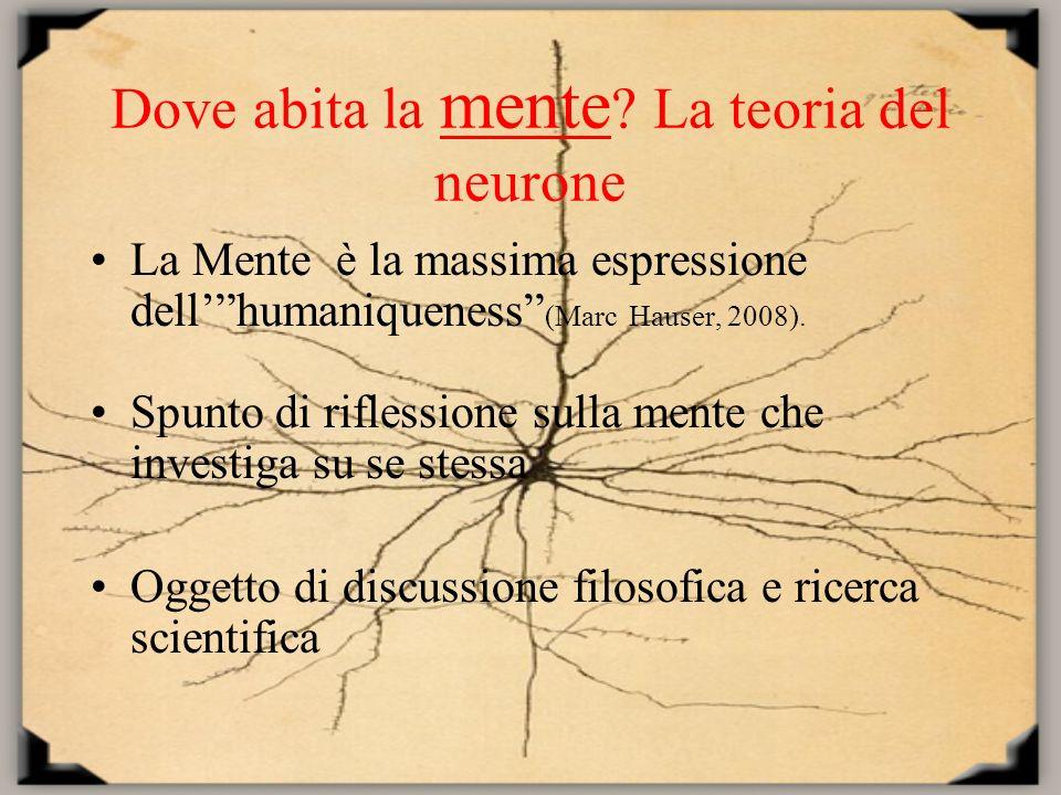 Dove abita la mente ? La teoria del neurone La Mente è la massima espressione dellhumaniqueness (Marc Hauser, 2008). Spunto di riflessione sulla mente