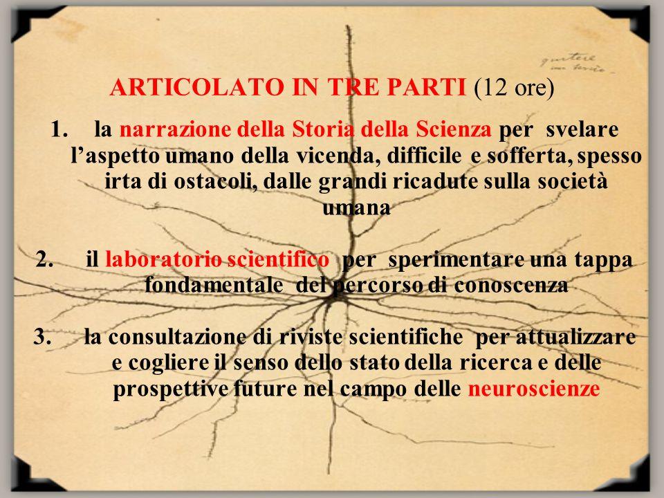ARTICOLATO IN TRE PARTI (12 ore) 1.la narrazione della Storia della Scienza per svelare laspetto umano della vicenda, difficile e sofferta, spesso irt