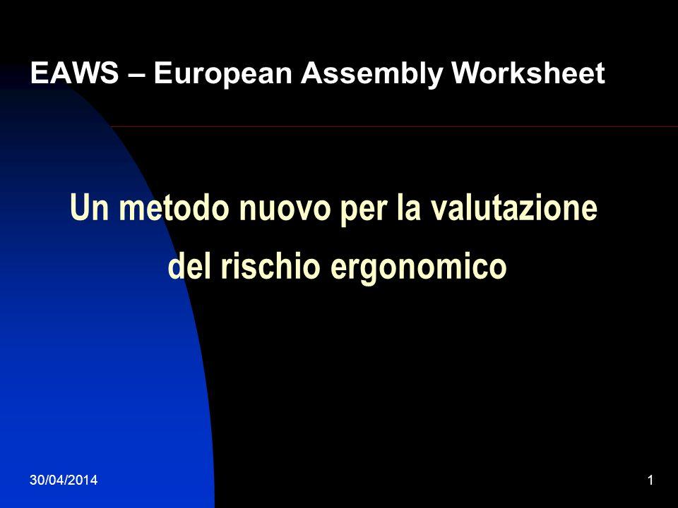 30/04/20142 Introduzione La metodologia EAWS è stata sviluppata dall Istituto di Technische Universität Darmstadt (TUD) in collaborazione con la MTM International, ed è stato testato dalle case automobilistiche europee e loro fornitori.