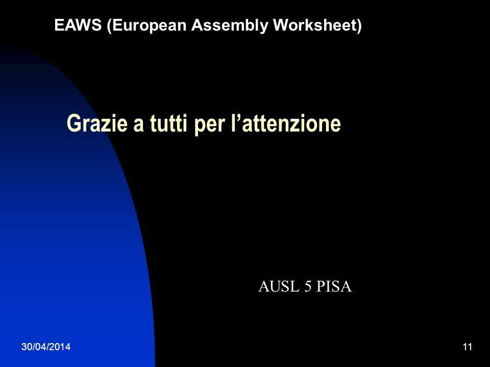 30/04/201411 EAWS (European Assembly Worksheet) Grazie a tutti per lattenzione AUSL 5 PISA