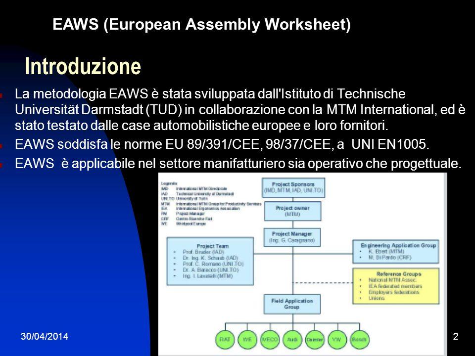 30/04/20142 Introduzione La metodologia EAWS è stata sviluppata dall'Istituto di Technische Universität Darmstadt (TUD) in collaborazione con la MTM I