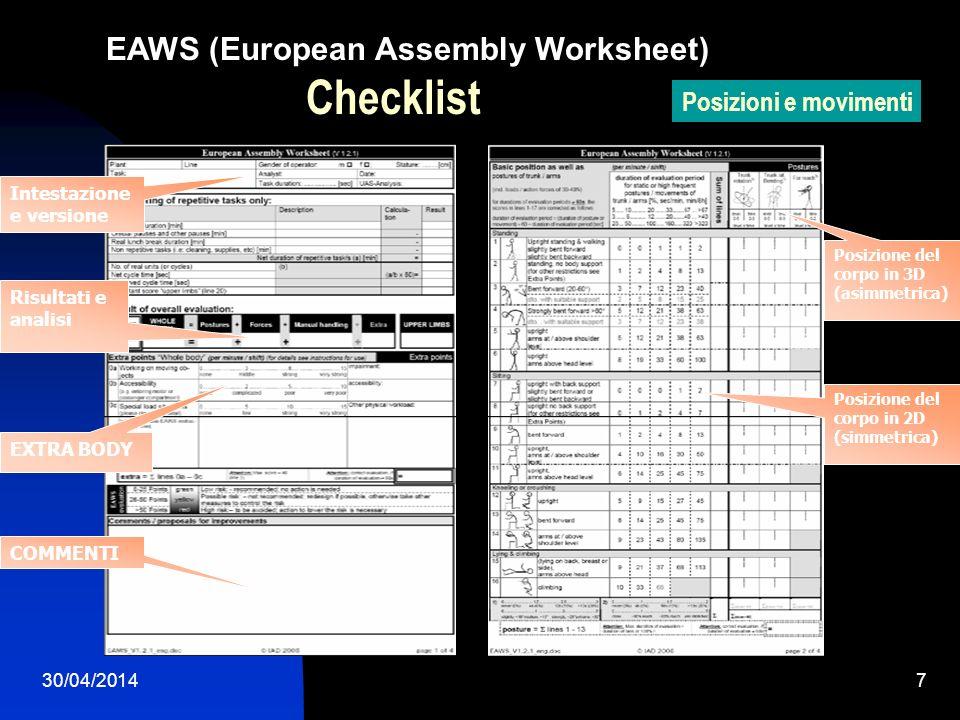 30/04/20148 EAWS (European Assembly Worksheet) Forze Checklist Manipolazione carichi Compiti ripetitivi Il carico degli arti superiori durante le operazioni ripetitive Forza Impiegata